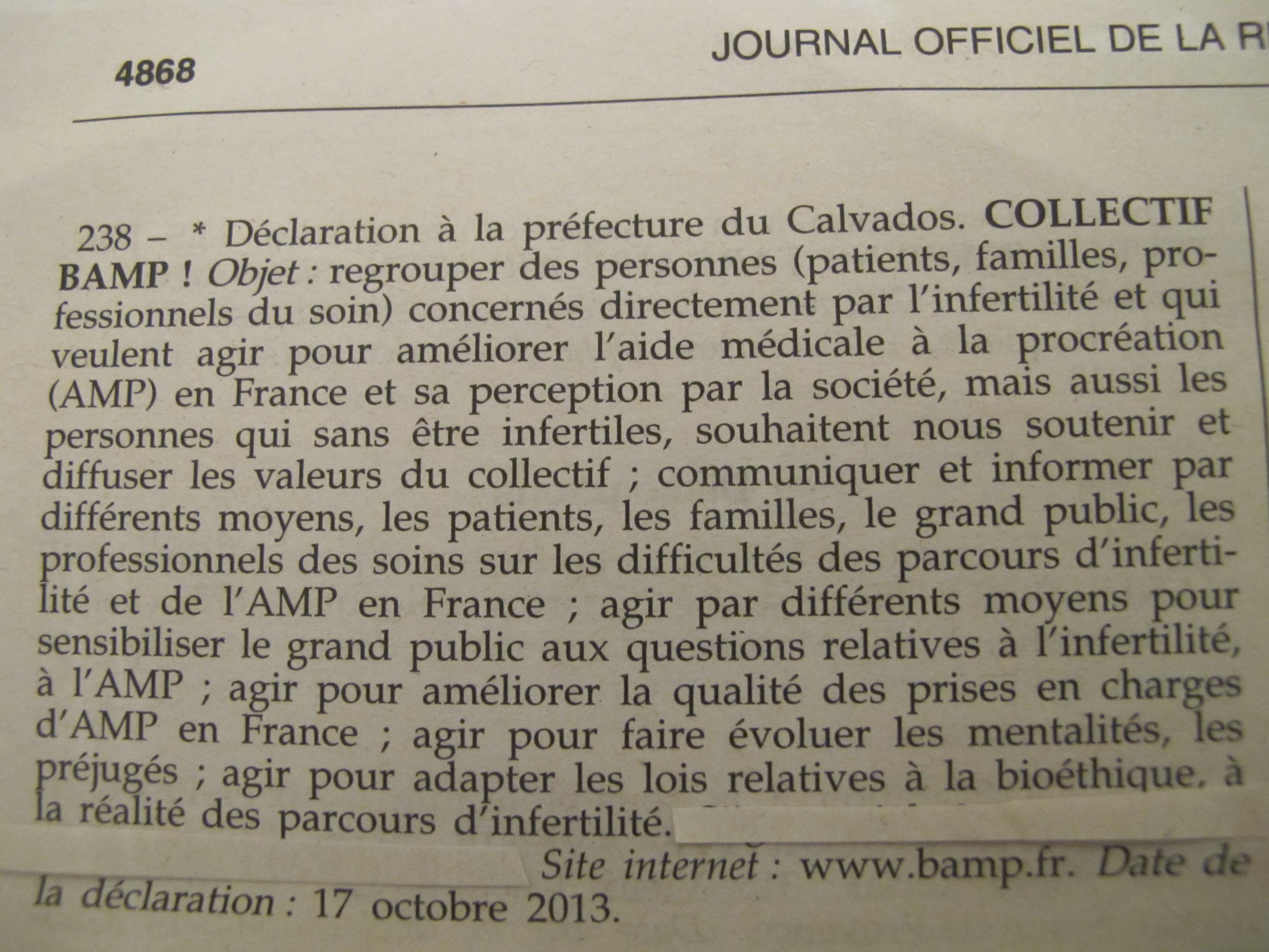 D claration pr fecture association de patients de l 39 amp - Declaration bureau association prefecture ...