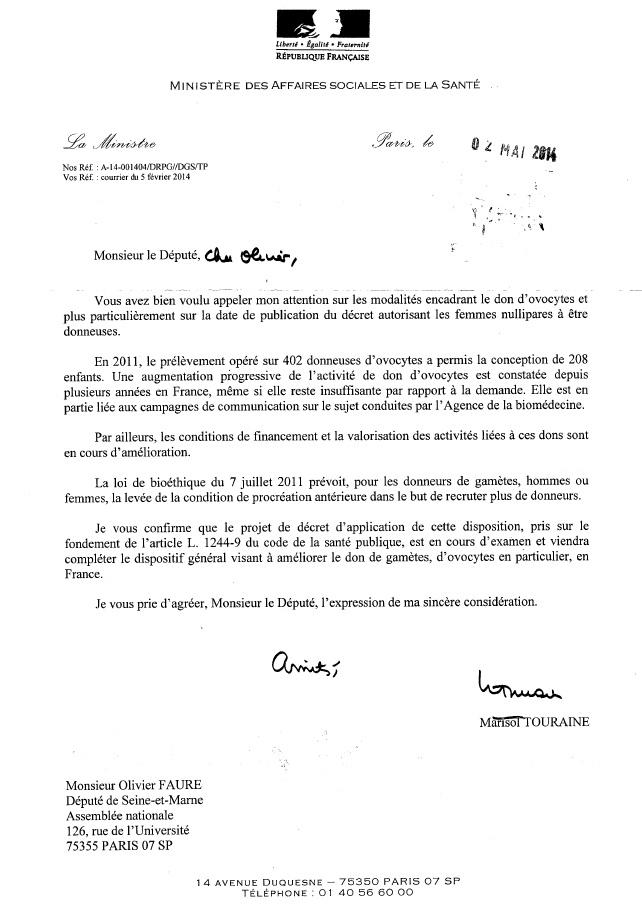 réponse ministre FAURE decret don