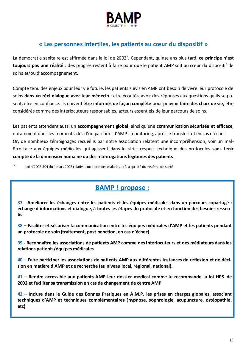 48 propositions pour amliorer la prise en charge de linfertilit
